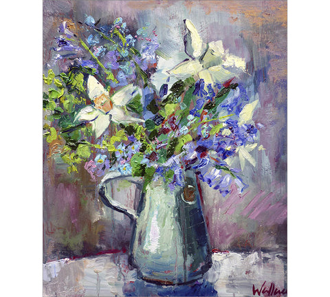Bluebells and Daffodils in Fursbreck Jug