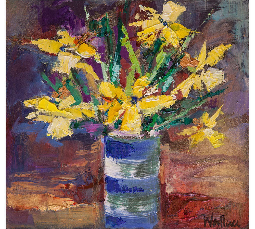 Daffodils in Blue and White Vase