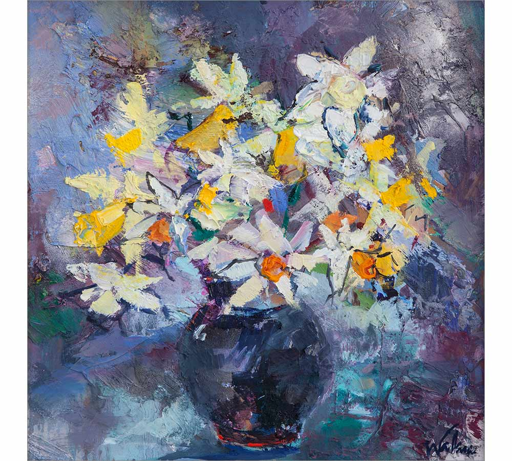 Daffodils in Black Vase
