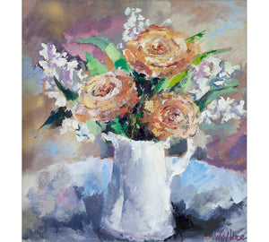 Evelyn Roses in White Jug