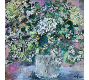 Hydrangeas and Blossom in Glass