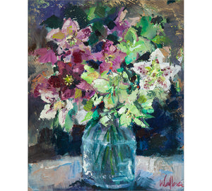 Hellebores in Glass Vase