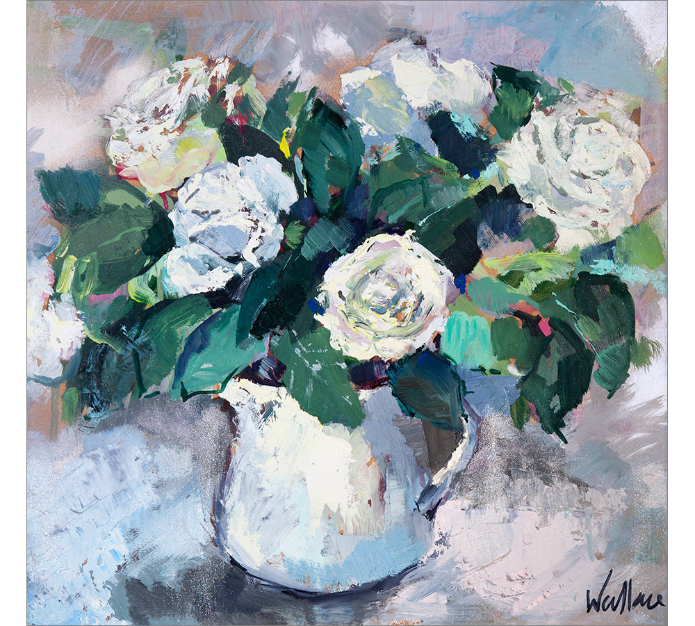 Iceberg Roses in White Jug