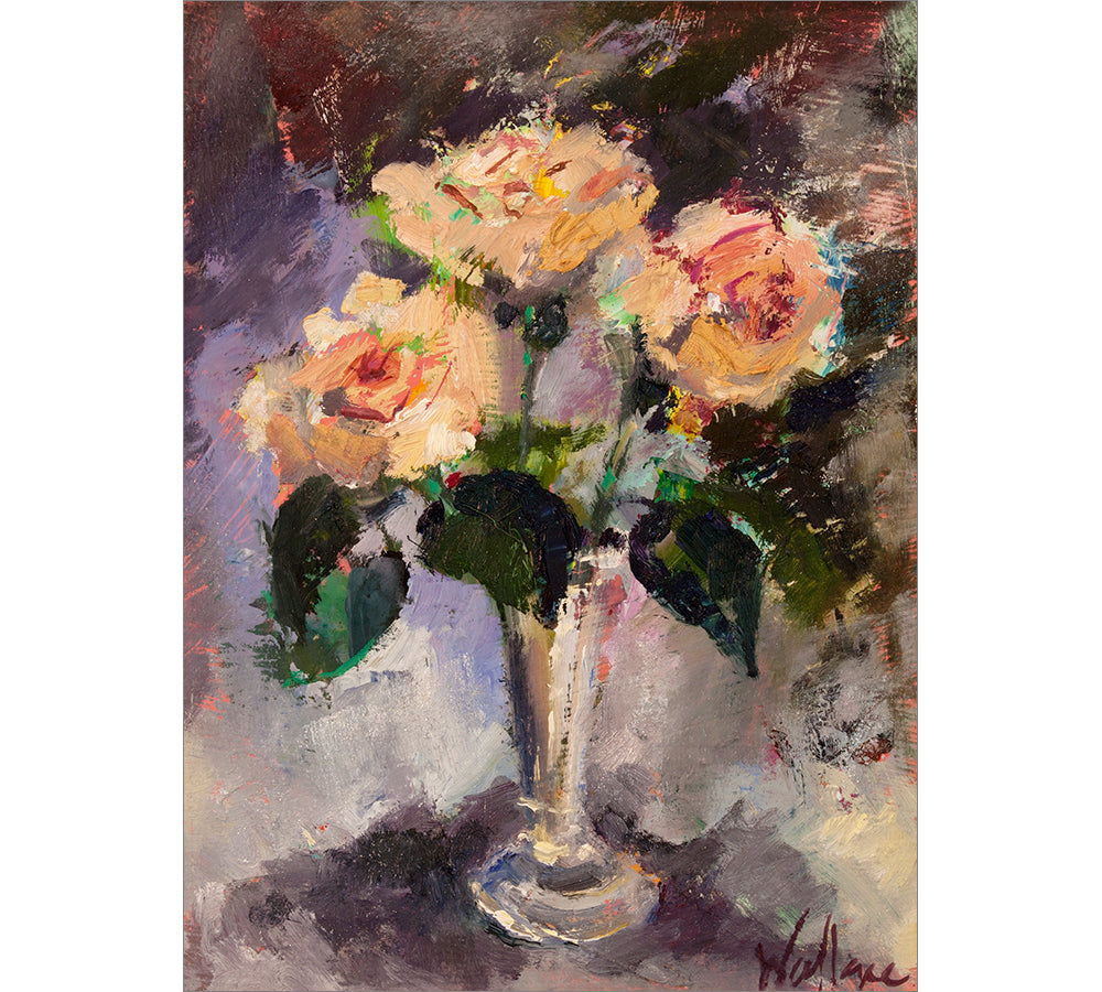 Juliet Roses in Silver Vase
