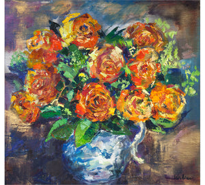 Orange Roses in Spode Jug