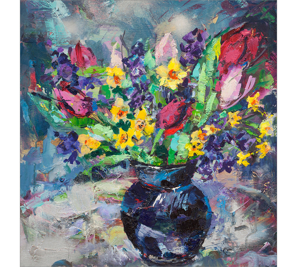 Spring Blooms In Black Vase