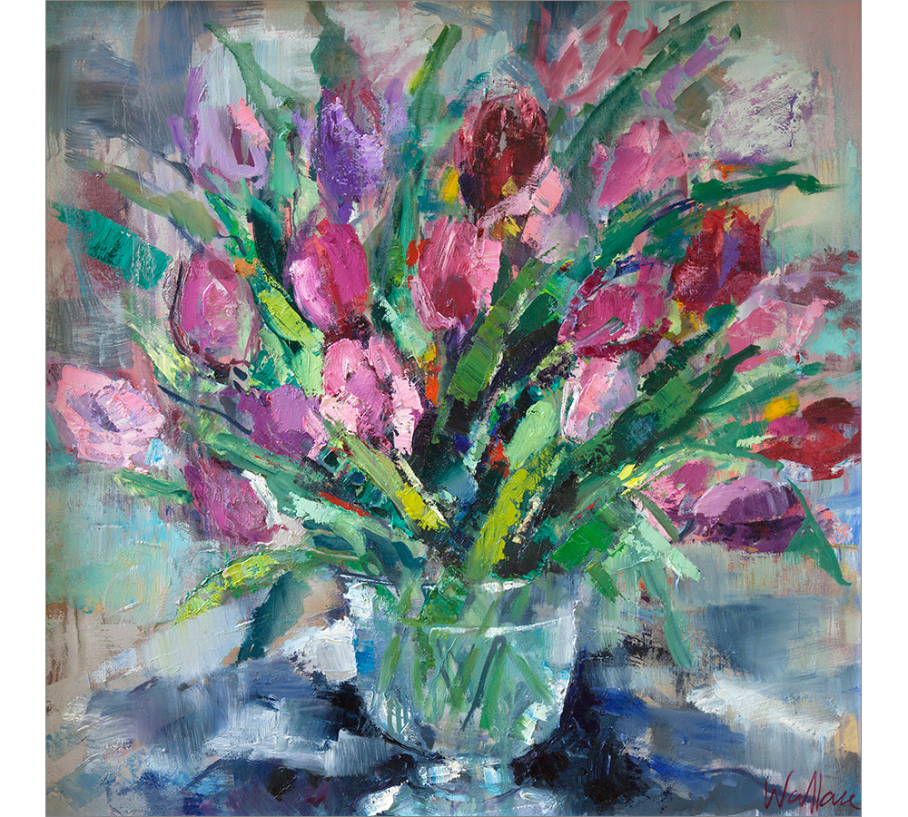 Vibrant Tulips in Glass Vase
