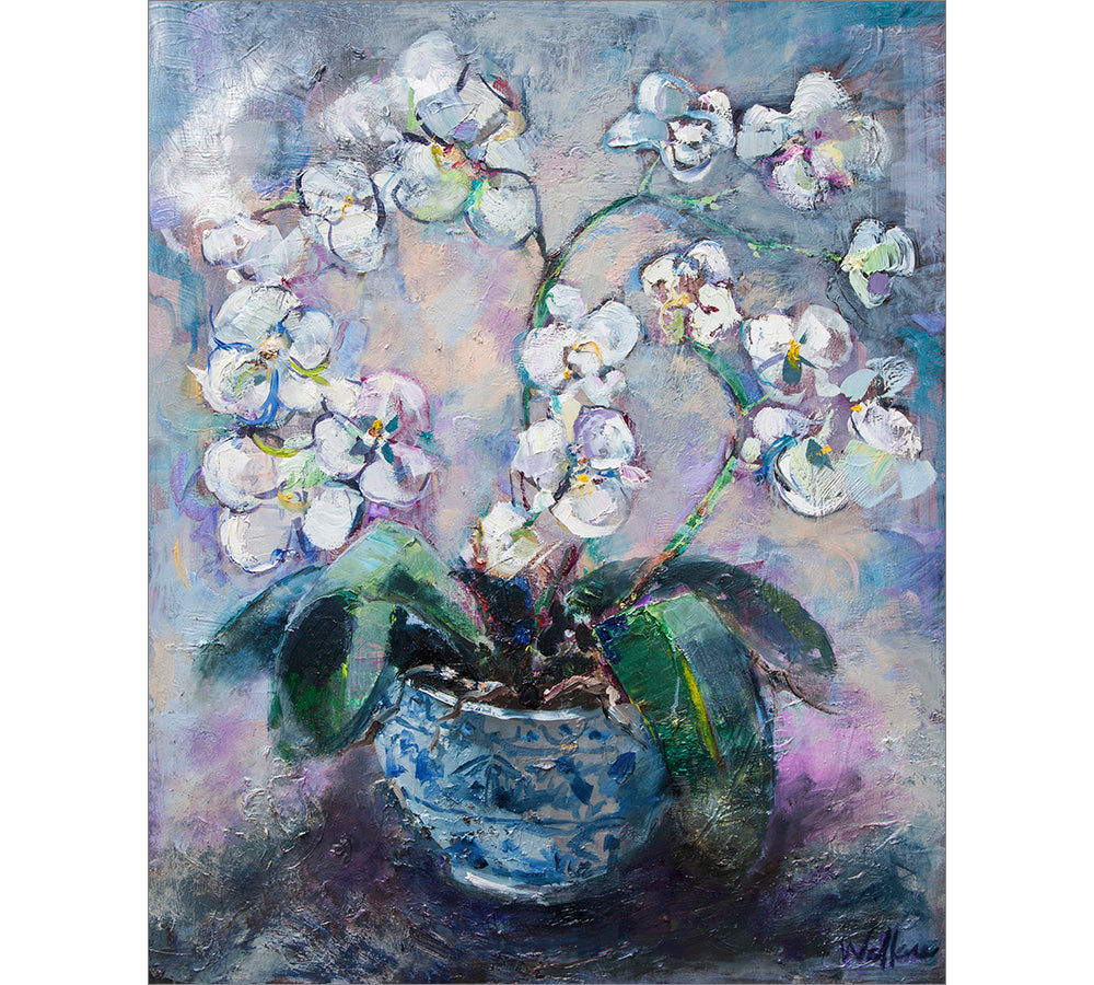White Orchid in Chinese Vase