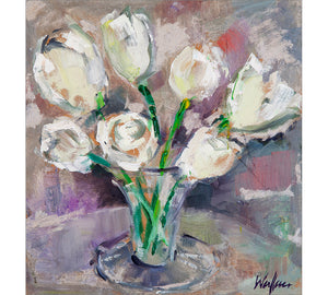 White Tulips in Glass
