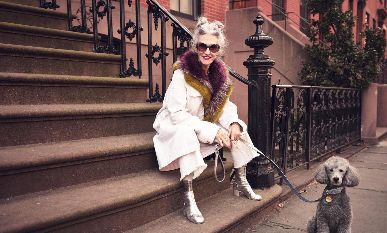 Linda Rodin and her poodle Winks wearing Morgenthal Frederics eyewear - The Expressionists Series - Portrait
