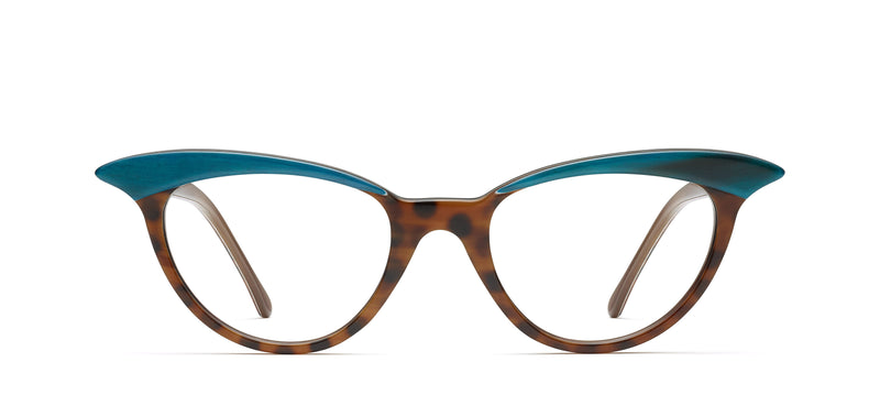 Madeleine Horn in teal brown / spotty tortoise
