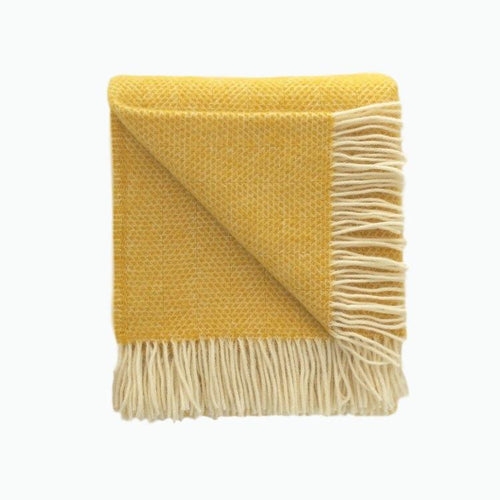 Beehive Wool Blanket in Yellow - James & May