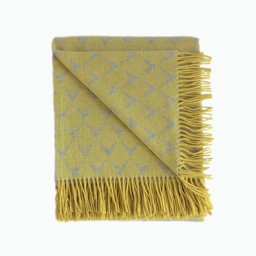 Coastal Lambswool Throw in Abersoch Yellow - James & May