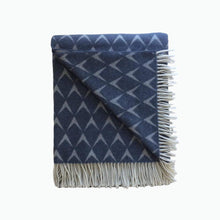 Load image into Gallery viewer, Coastal Lambswool Throw in Penrhos Blue - James & May