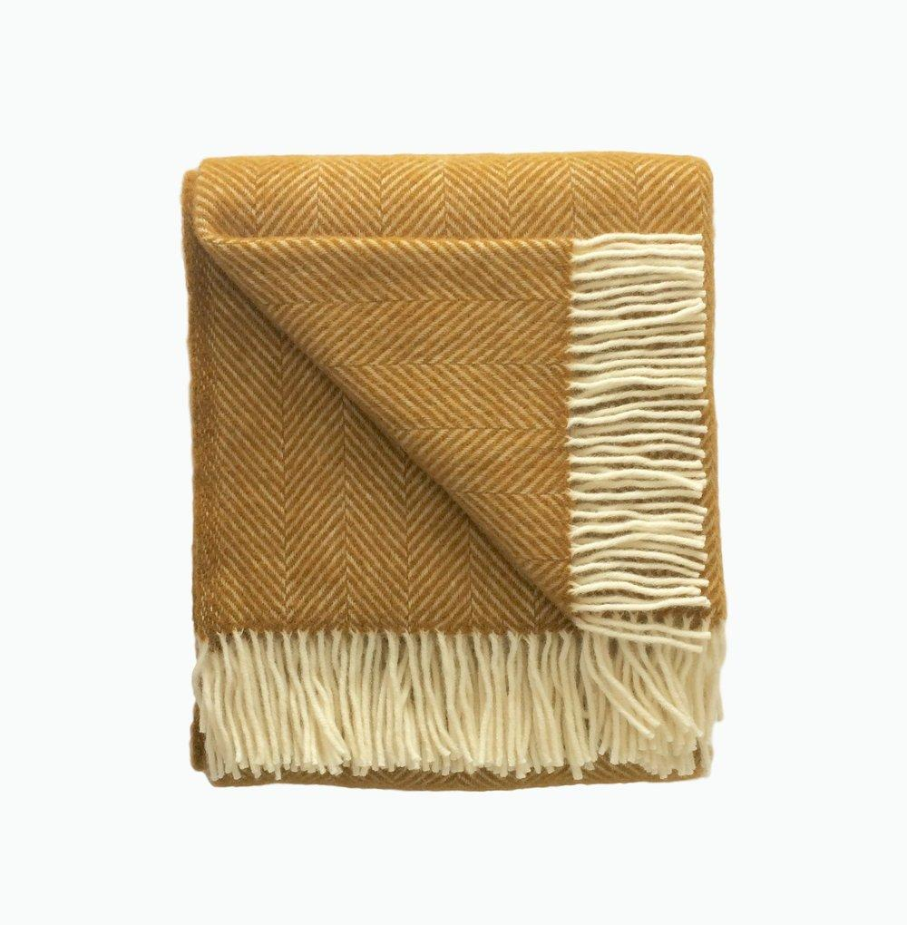 Fishbone Wool Blanket in Mustard - James & May