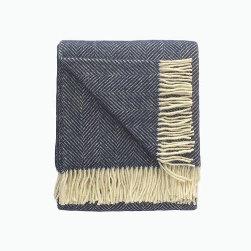 Fishbone Wool Blanket in Navy Blue - James & May