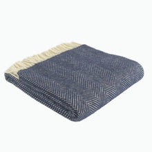 Load image into Gallery viewer, Fishbone Wool Blanket in Navy Blue - James & May