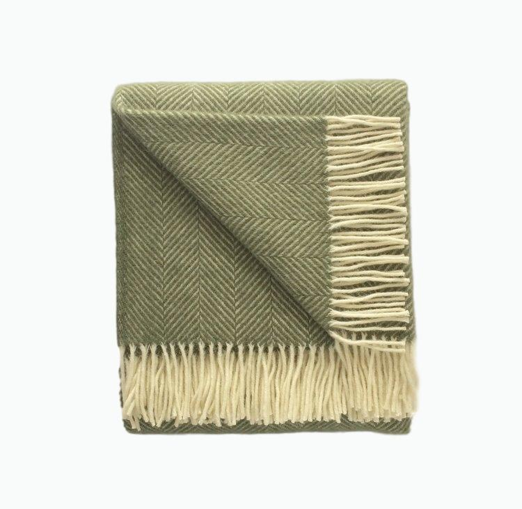Fishbone Wool Blanket in Olive Green - James & May