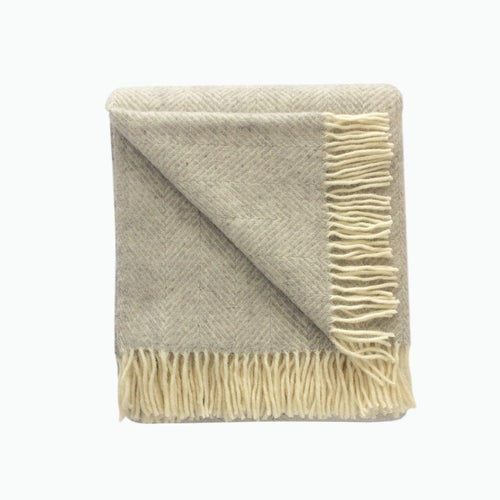 Fishbone Wool Blanket in Silver Grey - James & May