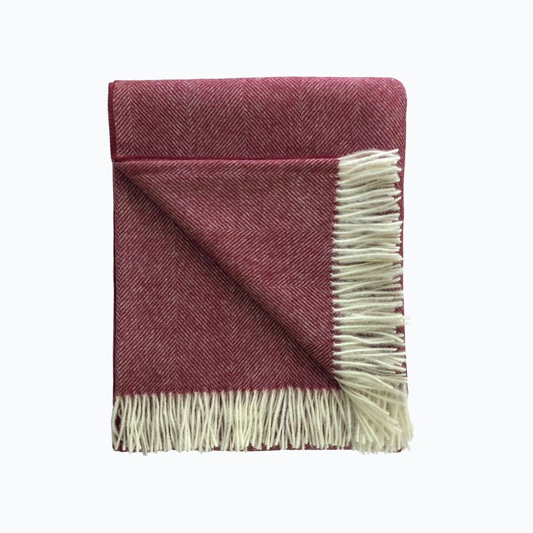 Herringbone Wool Blanket in Vintage Red - James & May