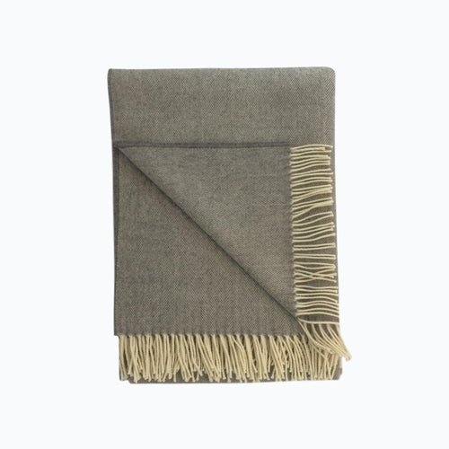 Herringbone Lambswool Blanket in Flint - James & May