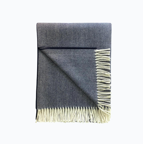 Herringbone Lambswool Blanket in Navy - James & May
