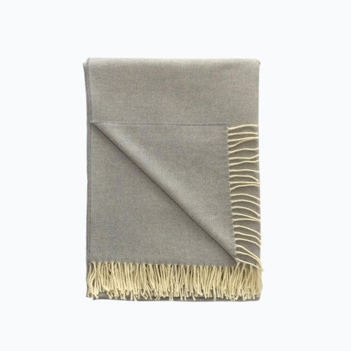 Herringbone Lambswool Blanket in Smoke - James & May