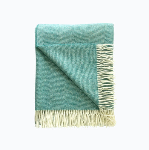 Herringbone Wool Blanket in Aqua - James & May