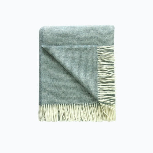 Herringbone Wool Blanket in Duck Egg - James & May