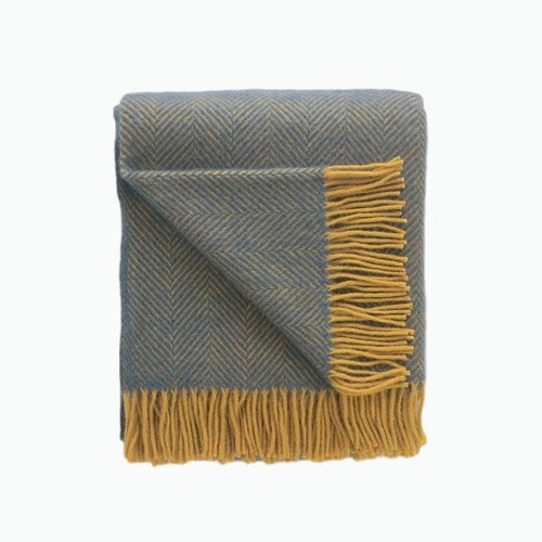 Herringbone Wool Blanket in Navy and Mustard - James & May