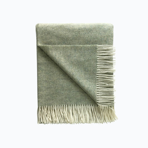 Herringbone Wool Blanket in Sage Green - James & May