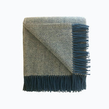 Load image into Gallery viewer, Herringbone Wool Blanket in Silver and Ink - James & May