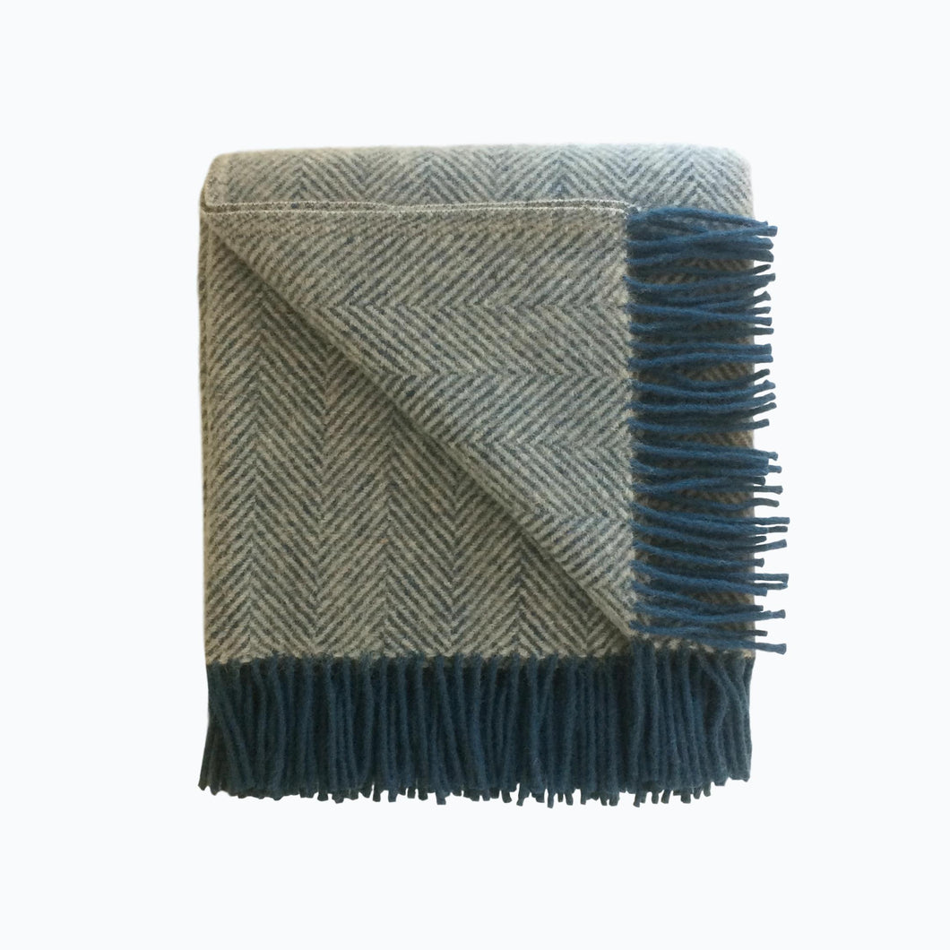 Herringbone Wool Blanket in Silver and Ink - James & May