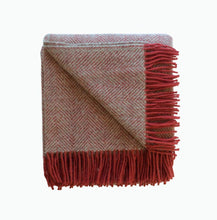 Load image into Gallery viewer, Herringbone Wool Blanket in Silver and Watermelon - James & May