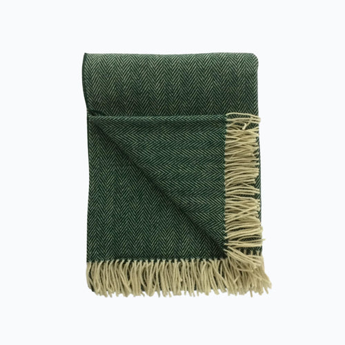 Herringbone Wool Blanket in Spruce - James & May