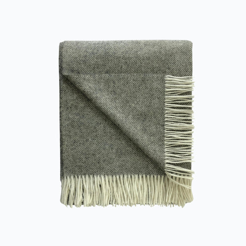 Herringbone Wool Blanket in Vintage Grey - James & May