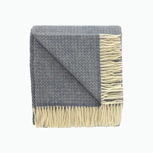 Illusion Wool Blanket in Slate Blue - James & May