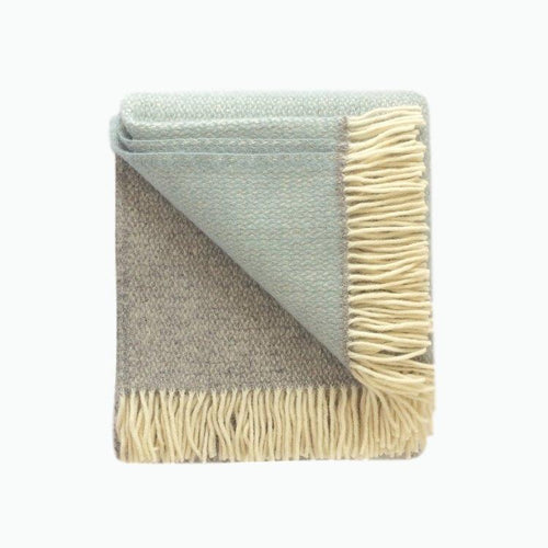Panel Wool Blanket in Grey and Duck Egg - James & May
