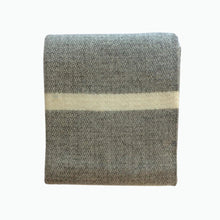 Load image into Gallery viewer, Panel Wool Blanket in Grey and Slate Blue - James & May