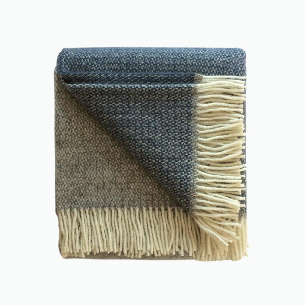 Panel Wool Blanket in Grey and Slate Blue - James & May
