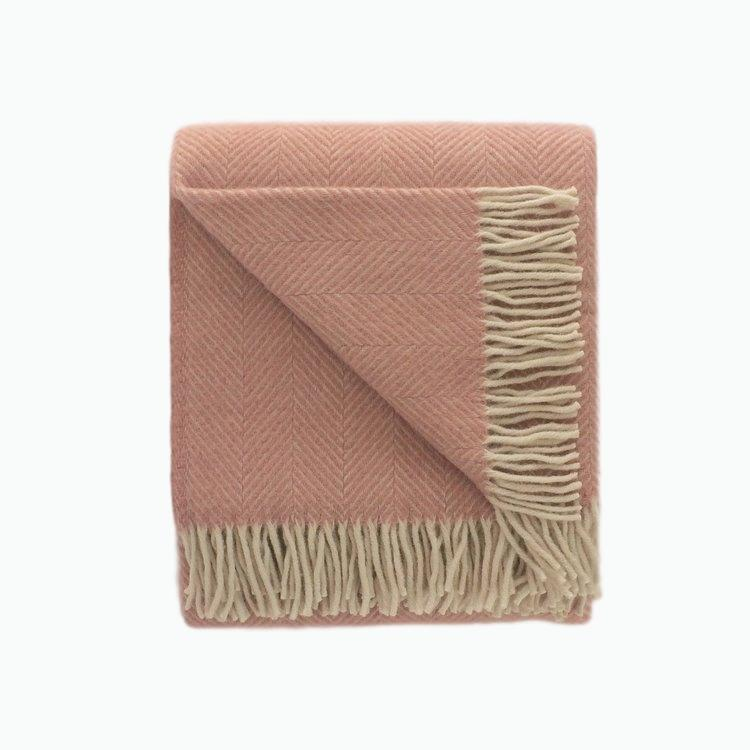 Small Herringbone Wool Blanket in Pink and Pearl - James & May