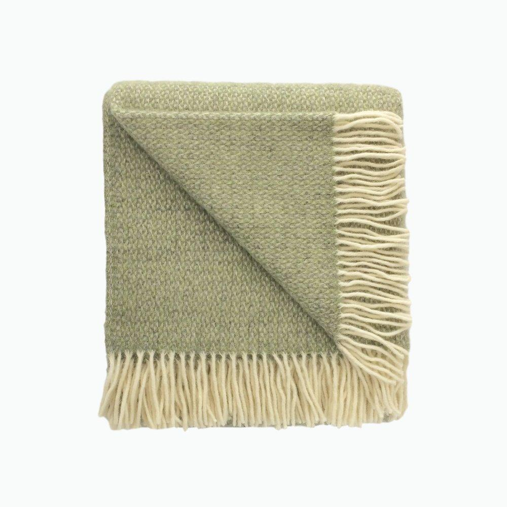 Small Illusion Wool Blanket in Green and Grey - James & May