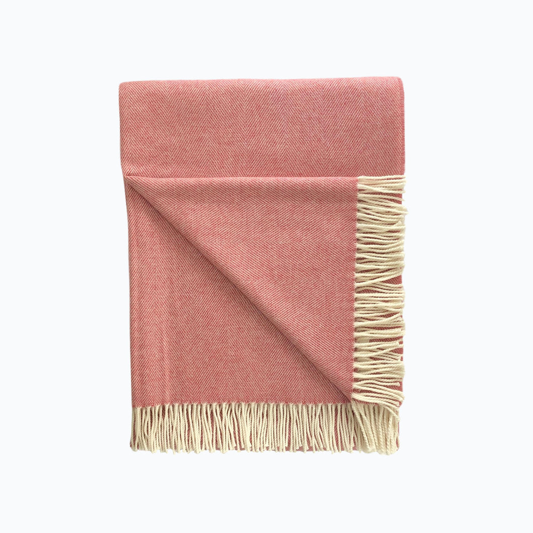 Spotted Lambswool Blanket in Coral - James & May