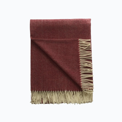 Spotted Lambswool Blanket in Cranberry - James & May