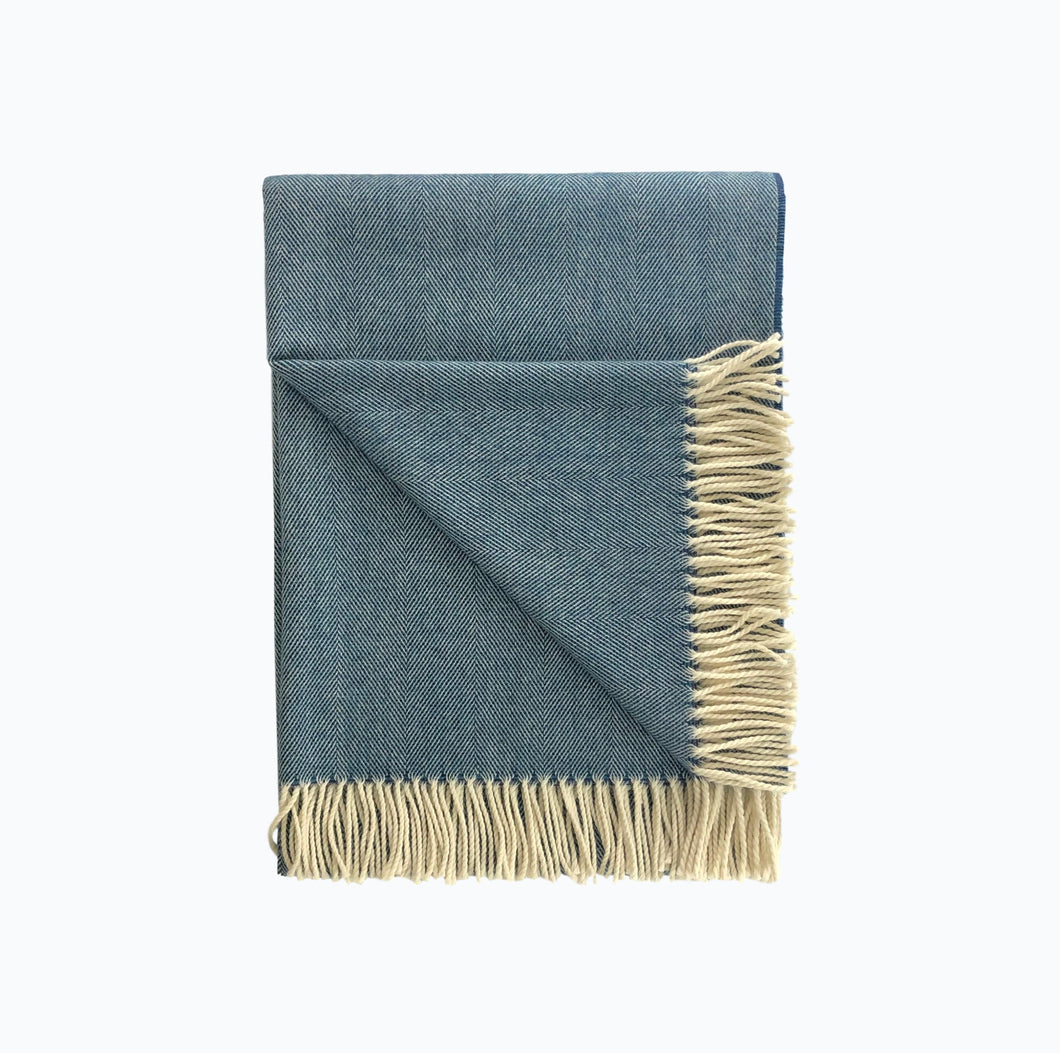 Spotted Lambswool Blanket in Deep Blue - James & May