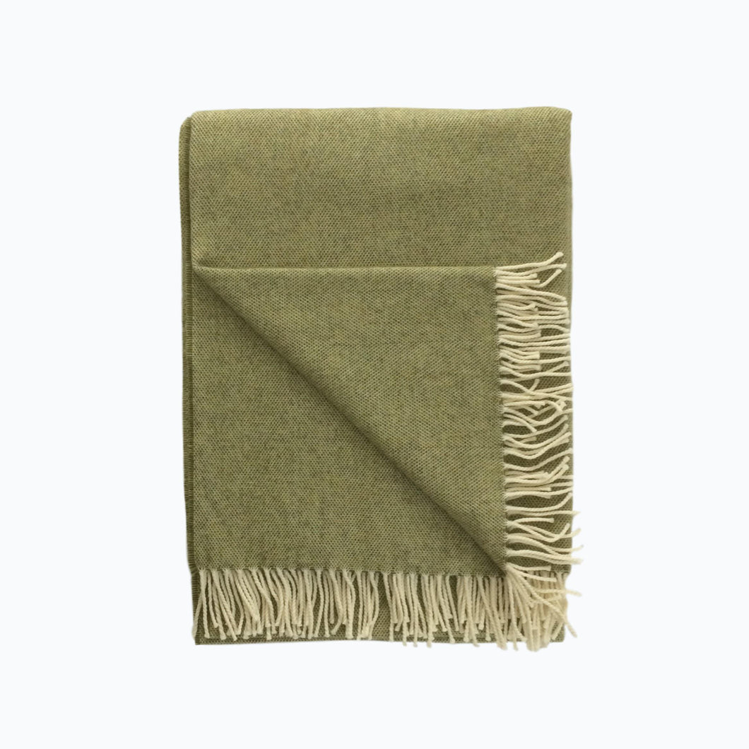 Spotted Lambswool Blanket in Sage - James & May