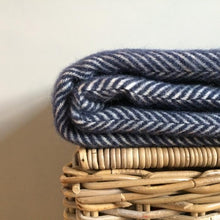 Load image into Gallery viewer, Two Stripe Wool Blanket in Navy and Silver - James & May
