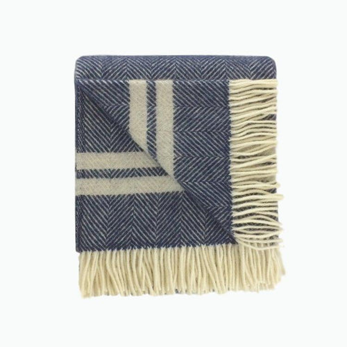 Two Stripe Wool Blanket in Navy and Silver - James & May