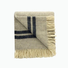 Load image into Gallery viewer, Two Stripe Wool Blanket in Silver and Navy - James & May