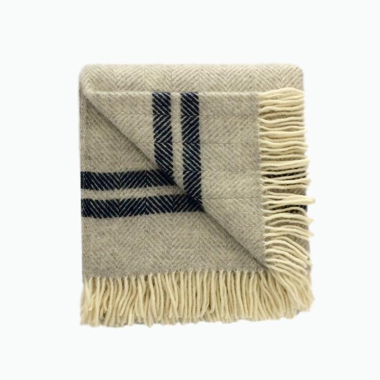 Two Stripe Wool Blanket in Silver and Navy - James & May